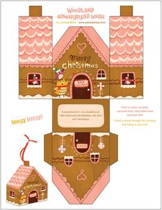 Lots of free gingerbread house printables at this site. Christmas Gingerbread, Noel Christmas, Christmas Paper, Xmas, Origami Christmas, Christmas Boxes, Gingerbread House Template, Gingerbread Houses, Printable Box