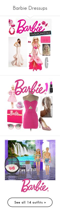 """Barbie Dressups"" by phoenix-ufacika ❤ liked on Polyvore featuring Jasz, Qupid, Ted Baker, Bling Jewelry, Tobi, Mattel, Jimmy Choo, Charlotte Olympia, In Your Dreams and Gucci"