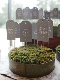 Moss Garden Tag Cards | Community Post: 20 Creative Wedding Seating Cards