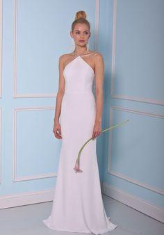 Halter Neck Sheath Silk Gown   Christian Siriano for Kleinfeld BSS17-17003   http://trib.al/GnOhfnw