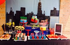 What an awesome dessert table at a  Superhero Party!  See more party ideas at CatchMyParty.com!  #partyideas #superhero