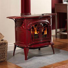 Red enamelled wood burner.