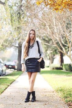 30 ways to wear a black leather skirt // Bethany Struble