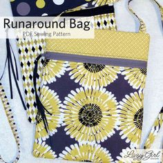 The Runaround Bag has an easy zipper installation. This cross body bag is perfect for a light day on the go. Made from fat quarters, I love this small zipper bag. Lazy Girl Designs, Easy Sewing Patterns, Bag Patterns, Sewing Ideas, Crossover Bags, Zipper Bags, Couture, Quilting Designs, Bag Making