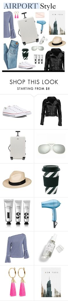 """#airportstyle"" by hellodollface ❤ liked on Polyvore featuring American Eagle Outfitters, Converse, Rimowa, Roxy, Verso, BaByliss Pro, Herbivore, Mignonne Gavigan, MICHAEL Michael Kors and airportstyle"