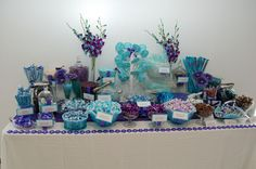 pictures of decorated candy bar in peacock and leopard | Posted by Absolutely Fabulous Weddings at 3:44 PM