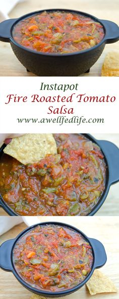 This Restaurant-Style Fire Roasted Tomato Salsa requires no fire just your instapot (slow cooker or a pot on your stove).  It takes only 10 minutes and you can adjust the heat level to your liking. http://www.awellfedlife.com/2017/05/instapot-fire-roasted-tomato-salsa.html