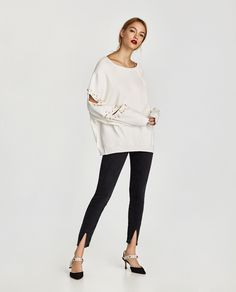 ZARA - WOMAN - SWEATSHIRT WITH SLITS AND FAUX PEARLS