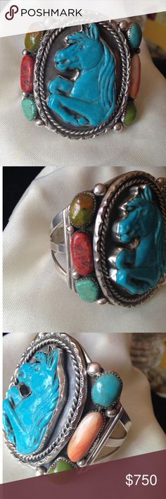 Francisco Gómez handmade Turquoise Horse Bracelet Francisco Gómez handcrafted Turquoise Horse Cuff Bracelet  A handcrafted Cuff bracelets by World renowned Señor Francisco Gomez; who is a master in silversmith, lapadarist carver.  This beautiful brand new Cuff has a hand carved turquoise horse and have enchanted nuggets of coral, turquoise, spiny oyster, and green turquoise.    Circumference: 6 7/8gap Weight: 97.3 grams Signed: G Stamped: Sterling Francisco Gómez Accessories Jewelry