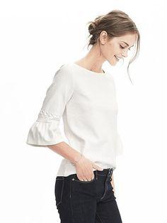 Short-Sleeve Embellished Fluted Tee
