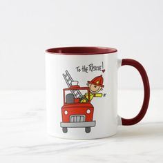 Stick Figure Firefighter with Fire Engine Mug