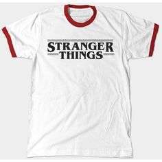 Stranger Things Ringer ($20) ❤ liked on Polyvore featuring tops, cosmic shirt, galaxy print top, galaxy shirt, shirt tops and white cotton shirt