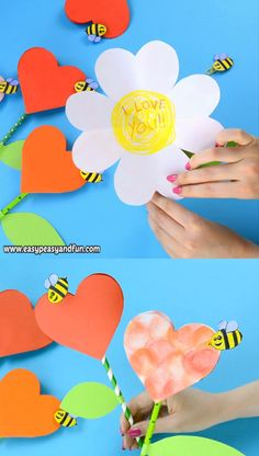 This paper heart flower craft is perfect both for Mother's day (a great alternative to your regular Mother's day card) or for V-day. diy and crafts Paper Heart Flower Craft with Template Paper Crafts For Kids, Diy Arts And Crafts, Creative Crafts, Fun Crafts, Diy Crafts Videos, Craft With Paper, Decor Crafts, Diy Paper Crafts, Mothers Day Crafts For Kids