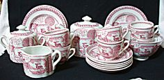 ANTIQUE Red Transferware STAG PATTERN Child's Tea Set. Please click on the image for more information. Childrens Tea Sets, Dish Sets, Vintage Children, Vintage Toys, Red And Pink, Miniatures, China, Antiques, Cookware