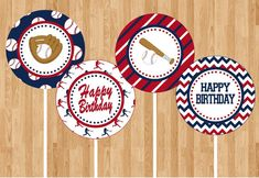 Baseball Birthday Party Cupcake Toppers - INSTANT DOWNLOAD - DIY Digital Printable Decoration File