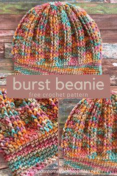 Crochet Beanie Hat, Crochet Cap, Crochet Basics, Knit Or Crochet, Free Crochet, Knitted Hats, Double Crochet, Crochet Dolls, Beanie Hats