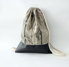 Gray Drawstring backpack, Drawstring bags, Vegan #bagsandpurses #backpack @EtsyMktgTool http://etsy.me/2abE9SU