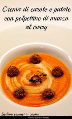 Crema di patate e carote con polpettine al curry