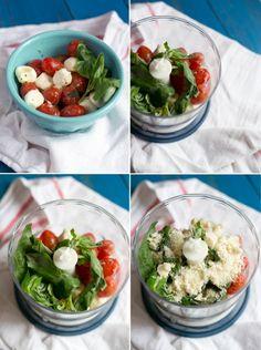 aprovechar una ensalada de tomate y mozzarella para hacer pesto siciliana