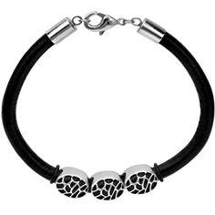 Inox Jewelry Men's 316L Stainless Steel Pebble Pattern Beads Leather Cord Bracelet