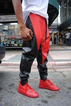 SALE Black & Red Leather Drop Crotch Jogger Stash von GAGTHREADS