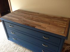 Top of navy dresser.  Federal slate blue is paint color