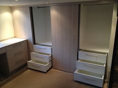 Sliding door wardrobes with internal draw units Bedroom Wardrobe, Master Bedroom, Sliding Doors, Wardrobes, Filing Cabinet, Bedroom Furniture, Bespoke, The Unit, Draw