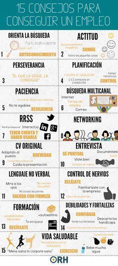 15 consejos para conseguir un empleo #infografia #infographic #empleo