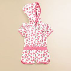 Girls-Jumpsuit-Cherry-Printed-Playsuit-Shorts-Hodded-Fashion-Kids-Summer-Outfits