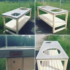 Ute kök -outdoor kitchen , made With solid 70x70mm frame ready to be painted, and concrete top with copper towel rack. Also Including a…