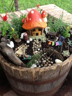 Half barrel fairy garden