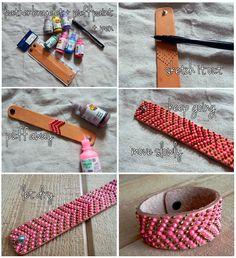 Puff paint leather bracelet