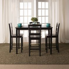 Madrid 30-inch Black Counter Height 5-piece Dining Set