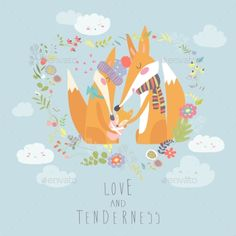 Loving fox family as a shape of a heart. Mother, father and baby child. Vector greeting card