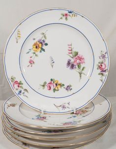 4 Handpainted Pink China Plates Antique Dessert Plates or Luncheon Plates By Davis Collamore u0026 Co | Pinterest | English china China plates and China & 4 Handpainted Pink China Plates Antique Dessert Plates or Luncheon ...
