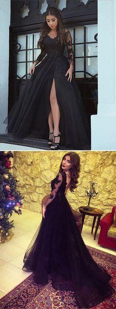 Black Prom Dresses, Long Prom Dresses, Lace Prom Dresses 2018, A-line Prom Dresses V-neck, Tulle Prom Dresses Appliques Elegant #promdress