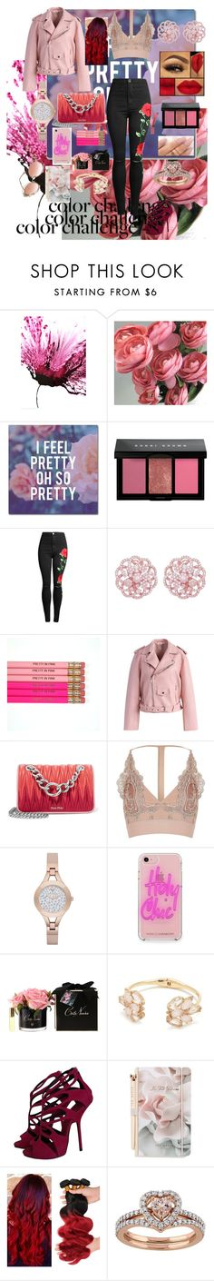 """red&pink holiday"" by joy-chiquita-godboldo ❤ liked on Polyvore featuring Trademark Fine Art, Bobbi Brown Cosmetics, Emilio!, Chicwish, Miu Miu, River Island, Emporio Armani, Rebecca Minkoff, Kate Spade and Giuseppe Zanotti"