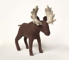 Felt moose toy! handmade from wool felt. Make your own with this sewing pattern or buy already made.