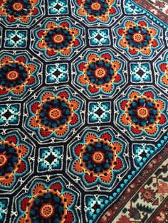 Extraordinarily beautiful rug with oriental ornaments crocheted from motifs.     distinctive feature oriental ornament has a bright ...