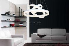 Wisząca LAMPA futurystyczna RING 408 Milagro zwis OPRAWA okręgi circles białe