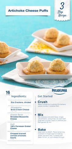 3-Step Recipe: Artichoke Cheese Puffs.
