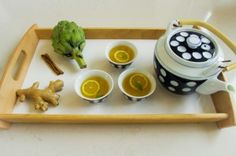 @Christine Avanti's Detox Tea | It's only 4 calories! 3 ounces fresh ginger (peeled and sliced), 3 dandelion root tea bags, 3 milk thistle tea bags, 2 cinnamon sticks, 30 drops artichoke extract, 2 tablespoons fresh lemon juice, 1 tablespoon coconut oil