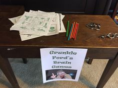 Puzzles and brain teaser station. Grunkle Ford's Brain Games. Gravity Falls birthday party.