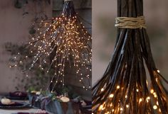 twinkle light twigs made into a hanging pendent - would look so pretty in an outdoor setting for Fall!