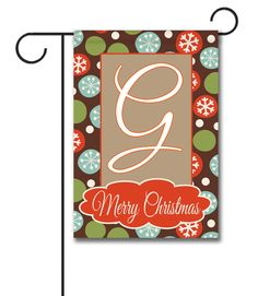 """Merry Christmas Snowflakes – Monogram Garden Flag Flag Size: 12.5"""" x 18"""" Flag stand sold separately Proudly Printed in the USA Vibrant colors printed on a poly/cotton outdoor quality fabric. Digitally printed on both sides of the fabric. Two fabric options given at checkout."""