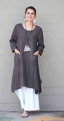 ET'LOIS USA  Linen  UMA TUNIC  Long A-line Pocket Dress  S M L XL  SMOKEY SAGE