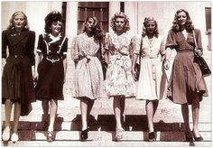 The New Look: 1940's dresses, synched a little higher than the waist line into fuller skirts, girl on the far R is wearing heels of the later part of the forties