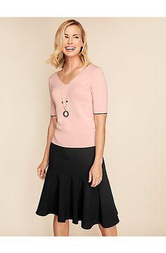 Flounced Skirt-Solid - Talbots