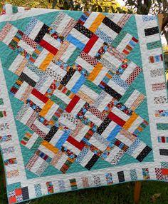 jelly roll quilt patterns   Jelly Roll Quilt Pattern - Pickup Sticks - Baby and Throw Sizes ...