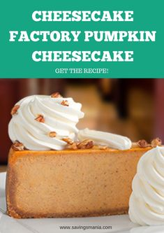 Cheesecake Factory Pumpkin Cheesecake Copycat Recipe – Recipes – SavingsMania - Top Of The World The Cheesecake Factory, Cheesecake Bites, Strawberry Cheesecake, Chocolate Cheesecake, Birthday Cheesecake, Turtle Cheesecake, Caramel Cheesecake, Strawberry Lemonade, Mini Desserts